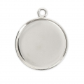 Pendant cabochon setting round-shaped 20 mm Silver Tone x1