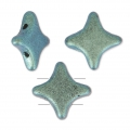 Star Beads glass beads by Perles and Co 11x11 mm Green Turquoise Met Mat x30
