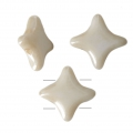 Star Beads glass beads by Perles and Co 11x11 mm Opaque Beige Ceramic Look x30