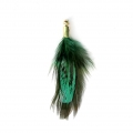 35 mm pheasant feather with a golden terminator - Green/Black x1
