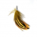 35 mm pheasant feather with a silver tone terminator - Fawn/Black x1