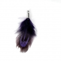 35 mm pheasant feather with a silver tone terminator - Purple/Black x1