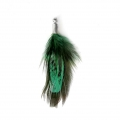 35 mm pheasant feather with a silver tone terminator - Green/Black x1