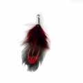 35 mm pheasant feather with a silver tone terminator - Red/Black x1
