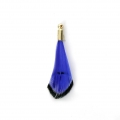 Tie and Dye pheasant feather with a golden terminator 25 mm - Blue/Black x1