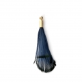 Tie and Dye pheasant feather with a golden terminator 25 mm - Navy Blue/Black x1