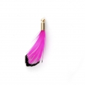 Tie and Dye pheasant feather with a golden terminator 25 mm - Fuchsia/Black x1