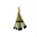 Tie and Dye pheasant feather with a golden terminator 25 mm - Olive/Black x1