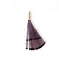 Tie and Dye pheasant feather with a golden terminator 25 mm - Purple/Black x1