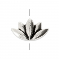 Lotus Flower bead 12x7 mm Antique Silver Tone x1