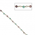 Chain with faceted glass beads 3.20 mm Golden/Multi Pastel x50cm