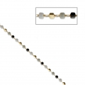 Chain with faceted glass beads 1.7 mm mm Golden/Multi Grey x50cm