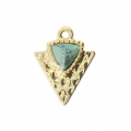 Triangle charm with an imitation turquoise synthetic stone 15x11.5 mm Gold Tone x1