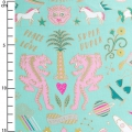 Jersey cotton fabric - Wonderland - Tiger Mint / Gold / Neon x10cm
