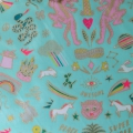 Coated cotton fabric - Wonderland - Tiger Mint / Gold / Neon x10cm
