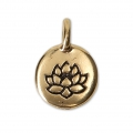 Round medal charm lotus flower pattern 11.5 mm Antique GOld Tone x1