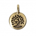 Tree of life round medal charm 11.5 mm Antique Gold Tone x1