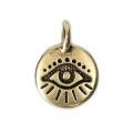 Lucky eye Round medal charm 11.5 mm Antique Gold Tone x1