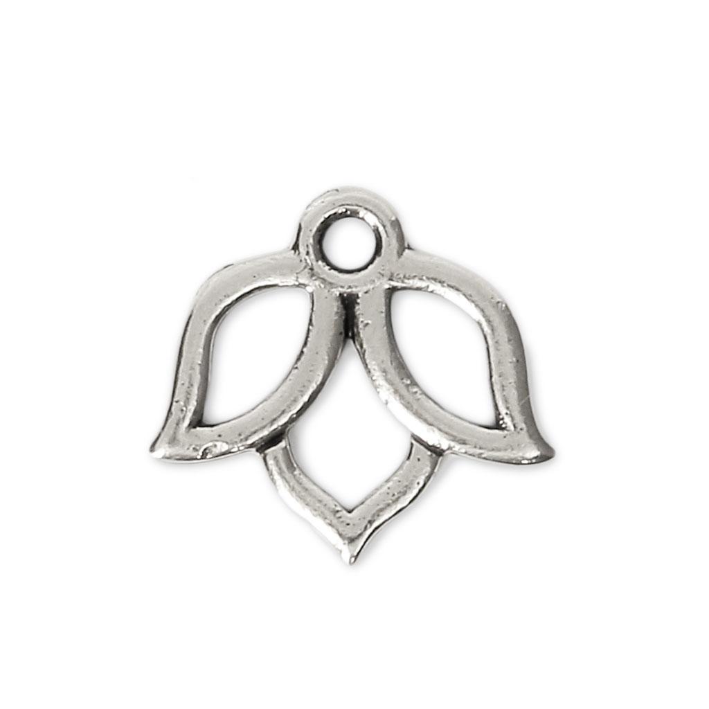 Lotus Flower Charm 14x13 Mm Antique Silver X1 Perles Co