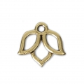 Lotus flower charm 14x13 mm Antique Gold Tone x1