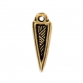 Triangle-shaped charm with ethnic pattern 17x5.5 mm Antique Gold Tone x1