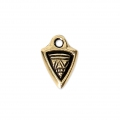 Mini Triangle-shaped charm with ethnic pattern 11x8 mm Antique Gold Tone x1