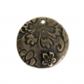 Round pendant flower pattern 21.5 mm Bronze Tone x1