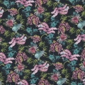 Cotton fabric - Tropical - Black / Pink / Turquoise x10cm