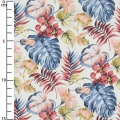 Cotton fabric - Monstera leaves - White / Blue / Bordeaux x10cm