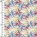 Cotton fabric - Palm leaves  - White / Blue / Bordeaux x10cm