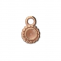 Round medal charm for 4 mm cabochon or rhinestone - Rose Gold Tone x1