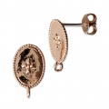 Oval brass earstuds with a cross pattern and 1 loop 14x9 mm Rose Gold Tone x2