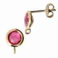 Round brass earstuds with an imitation Pink Tourmaline gemstone 7 mm Gold Tone x2