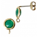 Round brass earstuds with an imitation Emerald gemstone 7 mm Gold Tone x2
