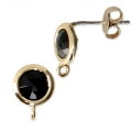 Round brass earstuds with an imitation Black Onyx gemstone 7 mm Gold Tone x2