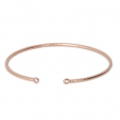Brass diamond bangle bracelet 2 loops 54x50 mm Rose Gold Tone x1