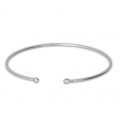 Brass diamond bangle bracelet 2 loops 54x50 mm Rhodium x1