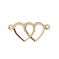 14 Kt Gold-filled Double-heart spacer 2 loops 18x8.5 mm x1
