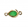 2 loops drop spacer - faceted imitation Emerald gemstone 12x5.5 mm Gold Tone x1