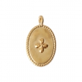 Oval charm cross pattern 14x8.5 mm Matte Gold Tone x1