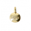 Oval charm sun pattern for DIY jewelry creation 11x8 mm - Gold Tone x1
