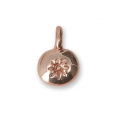 Oval charm sun pattern for DIY jewelry creation 11x8 mm - Rose Gold Tone x1
