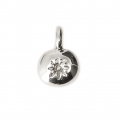 Oval charm sun pattern for DIY jewelry creation 11x8 mm - Rhodium Tone x1