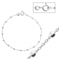Bracelet alternating forçat-link chain and 925 Sterling Silver balls 2.5 mm x1
