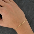 Brass curved gourmet mesh bracelet 1.60 mm - Gold Plated 3 microns x1