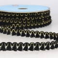 Mini tassel braid 13 mm Black/Gold x1m