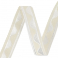 Jacquard Ribbon/braid wave pattern 16 mm Cream/White x1m