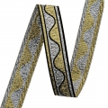 Jacquard Ribbon/braid wave pattern 16 mm Gold/Silver x1m