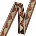 Jacquard Ribbon/braid wave pattern 16 mm Copper/Cream x1m