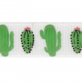 Printed ribbon/braid tropical theme 10 mm White/Green Cactus x1m